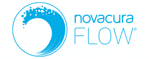 Novacura Flow logo blue horizontal