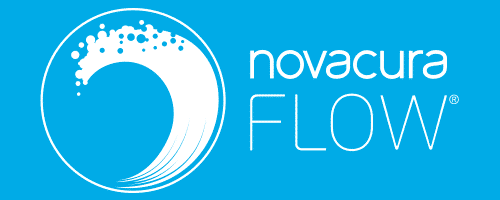 Novacura Flow logo white on blue