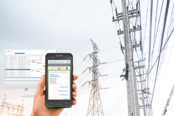 A picture of Novacura Flow on different devices with power lines in the background